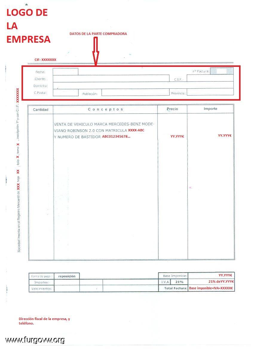 Documentación compra furgo de segunda mano a una empresa.
